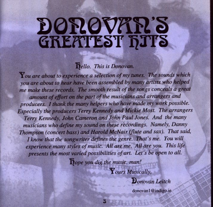 Donovan's Greatest Hits (a few words)